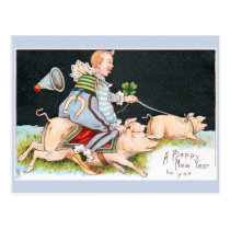 Christmas clowns, pigs & good luck symbols postcard