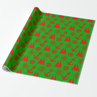 Christmas Coastal Nautical Pattern Wrapping Paper