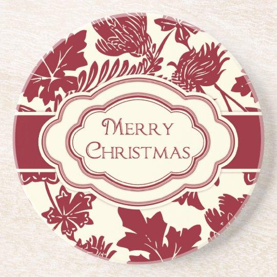 Christmas Coaster Elegant Floral Red Ivory