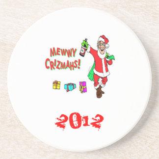 Christmas*Coasters*Fun*Santa Drunk*Happy Holidays* Posavasos Diseño
