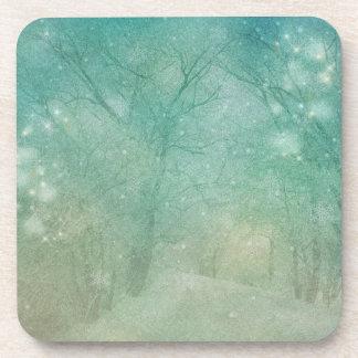 Christmas Coasters mint green snow trees sparkle