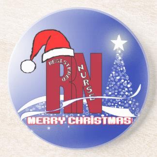 CHRISTMAS COASTERS RN SANTA & STAR TREE NURSE