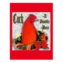 Christmas Cockadoodledoo Postcard