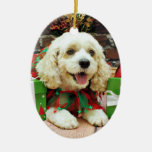 Christmas - Cockapoo - Clancy Double-Sided Oval Ceramic Christmas Ornament