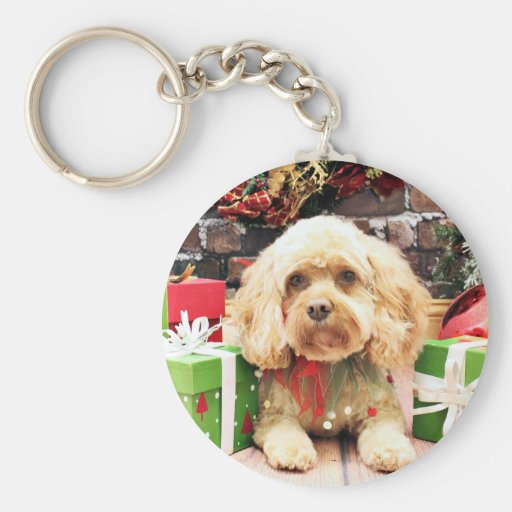 Christmas - Cockapoo - Morgan Basic Round Button Keychain