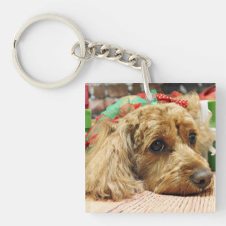 Christmas - Cockapoo - Odie Double-Sided Square Acrylic Keychain