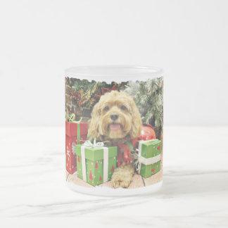 Christmas - Cockapoo - Wriggley Frosted Glass Coffee Mug