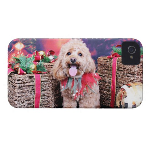 Christmas - Cockapoo - Wriggly Case-Mate iPhone 4 Cases