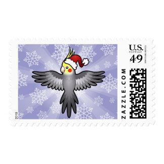Christmas Cockatiel Postage Stamps