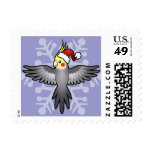 Christmas Cockatiel Postage Stamps