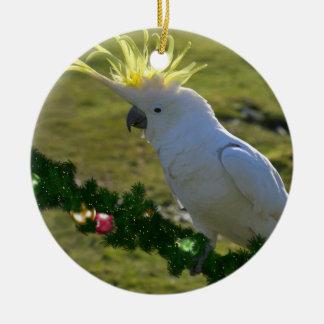 Christmas Cockatoo Bird in Australia Double-Sided Ceramic Round Christmas Ornament