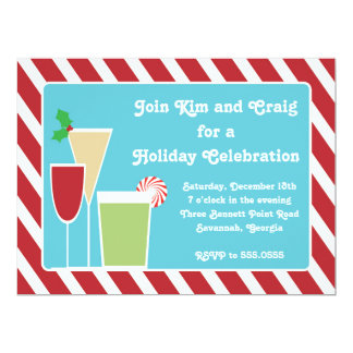 Christmas Cocktail Candy Stripe Holiday Invitation