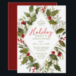 "Christmas Cocktail Party Watercolor Vintage Holly Invitation<br><div class=""desc"">Hand-painted watercolor holly leaves and bright red berries.  Holiday Cocktail Party invitation with easy edit handwritten lettering. All text can be edited; font choice,  color and layout can be modified according to style and taste.</div>"