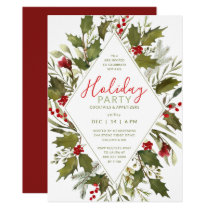 Christmas Cocktail Party Watercolor Vintage Holly Invitation