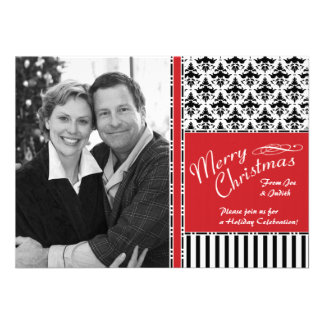 Christmas Cocktails Classy Damask Invitations