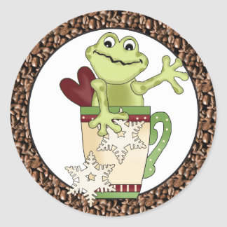 Christmas Coffee Frog Holiday sticker