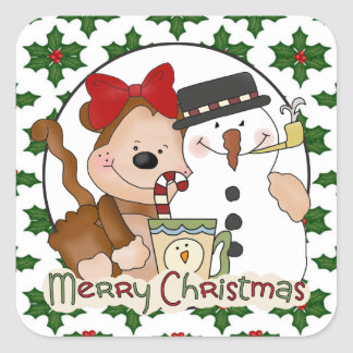 Christmas Coffee Monkey cartoon sticker