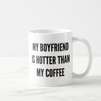 Christmas coffee my boyfriend is hotter than coffee mug