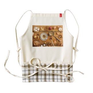 Christmas coffee scene on wood zazzle HEART apron