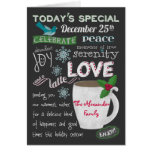 Christmas Coffee Shop Chalkboard Add Your Names Greeting Card