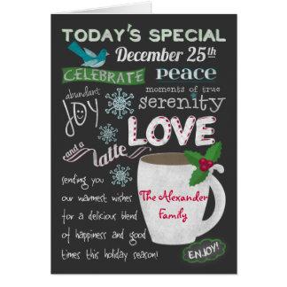 Christmas Coffee Shop Chalkboard Add Your Names Card