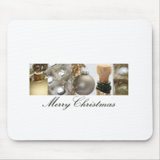 Christmas Collage Black, White and Gold Mouse Pad