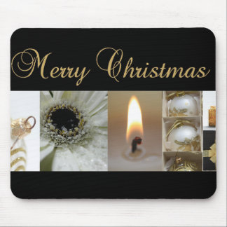 Christmas Collage Black, White and Gold Mousepad