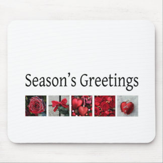Christmas Collage in Red Mouse Pad