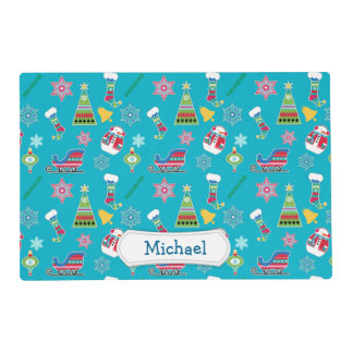 Christmas Collage Pattern Personalized Laminated Place Mat