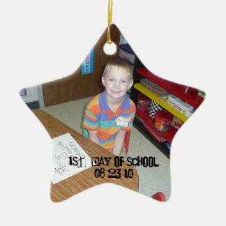 Christmas Collection Add Photo Text? Double-Sided Star Ceramic Christmas Ornament