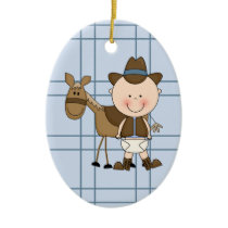 Christmas Collection Baby Cowboy Horse Ceramic Ornament