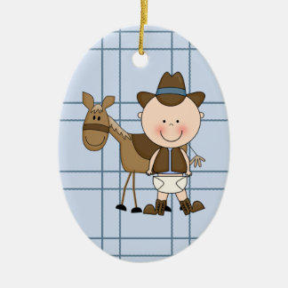 Christmas Collection Baby Cowboy Horse Double-Sided Oval Ceramic Christmas Ornament