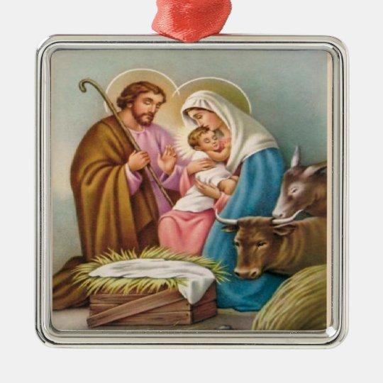 Christmas Collection Baby Jesus Nativity Tree Metal Ornament