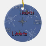 Christmas Collection Believe in Santa Double-Sided Ceramic Round Christmas Ornament