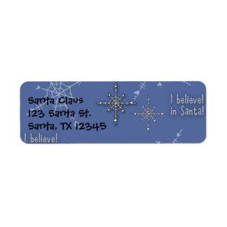 Christmas Collection Believe Santa Return Address Labels