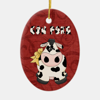 Christmas Collection Country CowPoke Cow Double-Sided Oval Ceramic Christmas Ornament