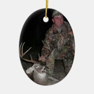 Christmas Collection Deer Hunt Add Photo Text Double-Sided Oval Ceramic Christmas Ornament