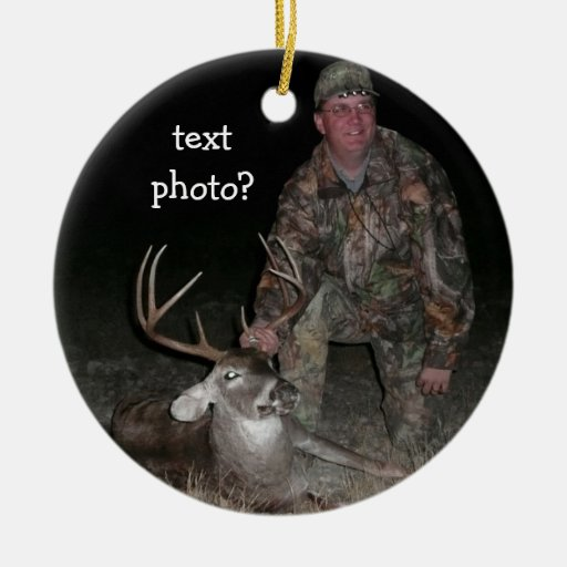 Christmas Collection Deer Hunter Add Photo Double-sided Ceramic Round Christmas Ornament
