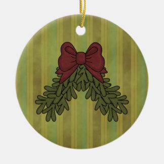 Christmas Collection Garland Bow Round Ornament