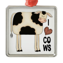 Christmas Collection I Love Cows Metal Ornament