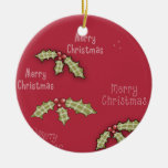 Christmas Collection Merry Christmas Red Holly Double-Sided Ceramic Round Christmas Ornament