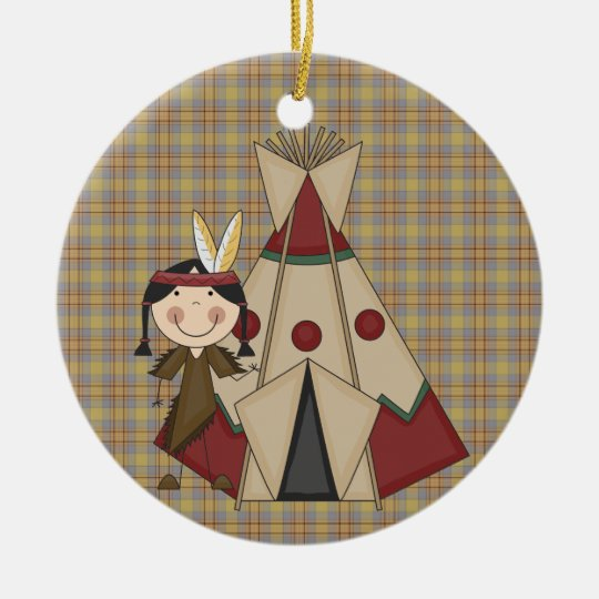 Christmas Collection Native American Indian Girl Ceramic Ornament