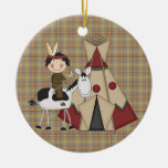 Christmas Collection Native American Indian Horse Double-Sided Ceramic Round Christmas Ornament