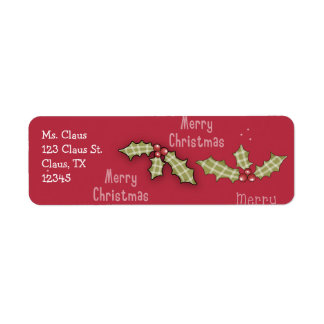 Christmas Collection Red Holly Merry Christmas Label