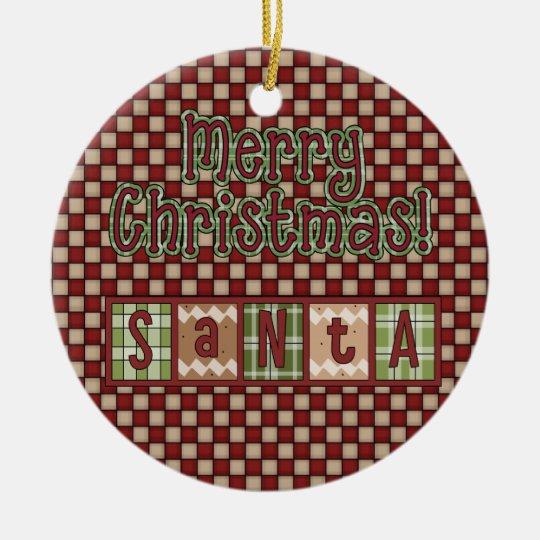 Christmas Collection Santa Blocks Ceramic Ornament