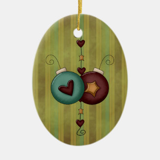 Christmas Collection Stars Hearts Ceramic Ornament
