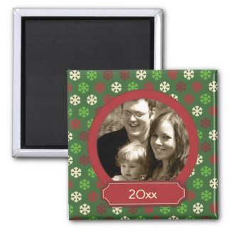 Christmas colored snowflakes refrigerator magnets