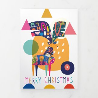 Christmas Colorful Abstract Reindeer Personalized Tri-Fold Holiday Card