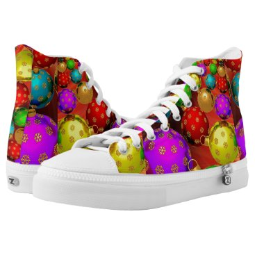 Christmas Themed Christmas, Colorful, Bright Ornaments High-Top Sneakers
