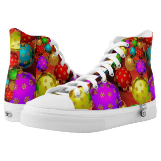 Christmas, Colorful, Bright Ornaments Printed Shoes